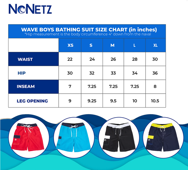 NoNetz Boys Size Chart - Regular Fit
