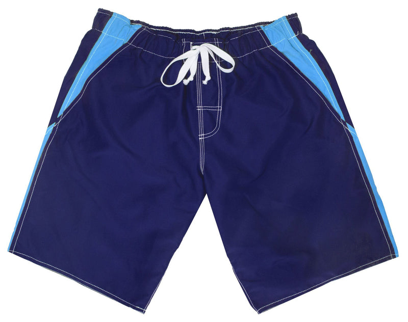 Men's Anti Chafe Swim Suit in Blue & Turquoise With Two Hip Pockets