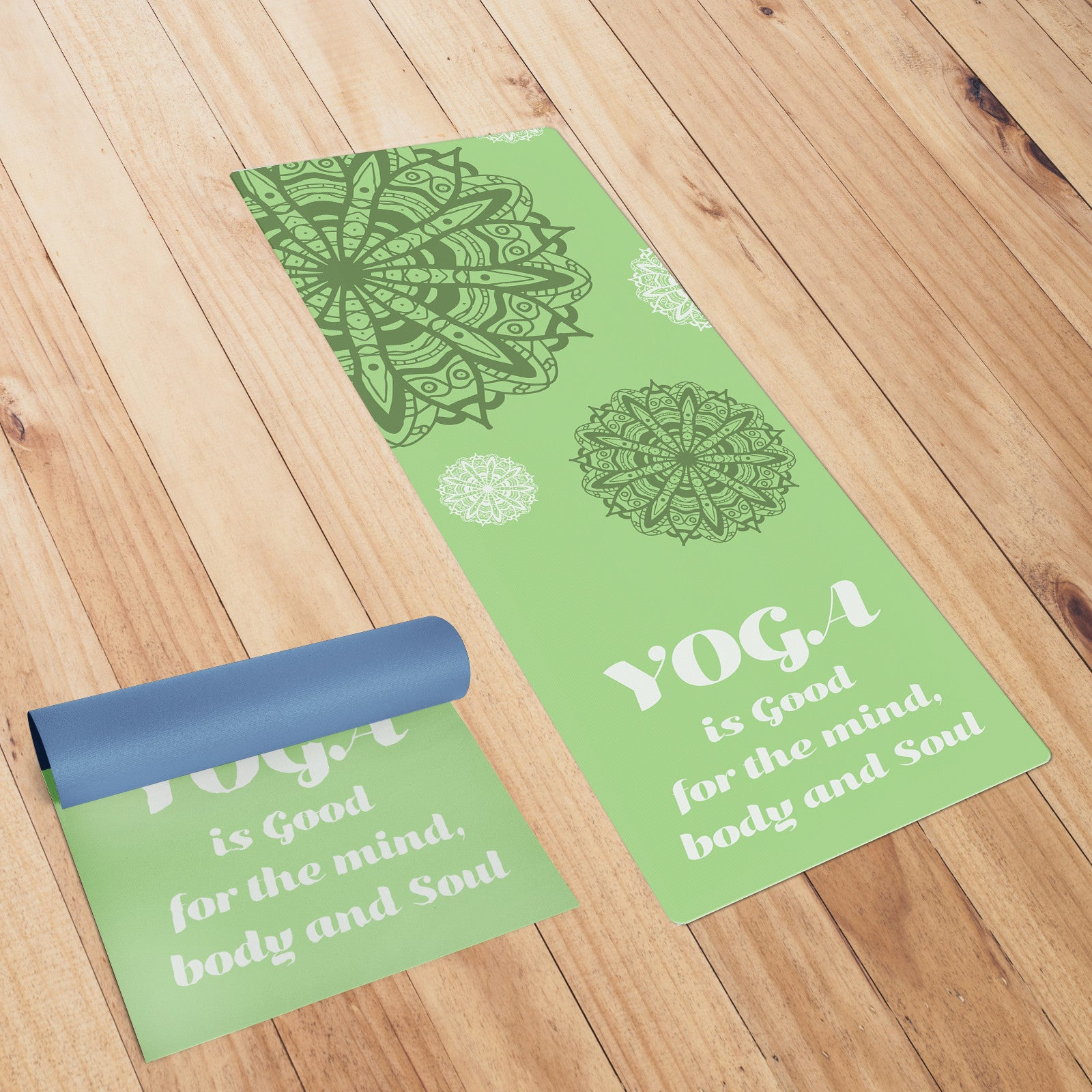Green Coloured Mandala Yoga Mat