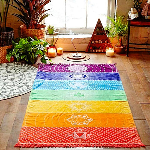 Hot Rainbow Yoga Beach Mat