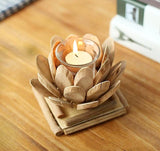 Handmade Wood Lotus Candle Holder