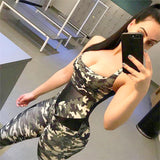 Cross Backless Camouflage Bodysuit