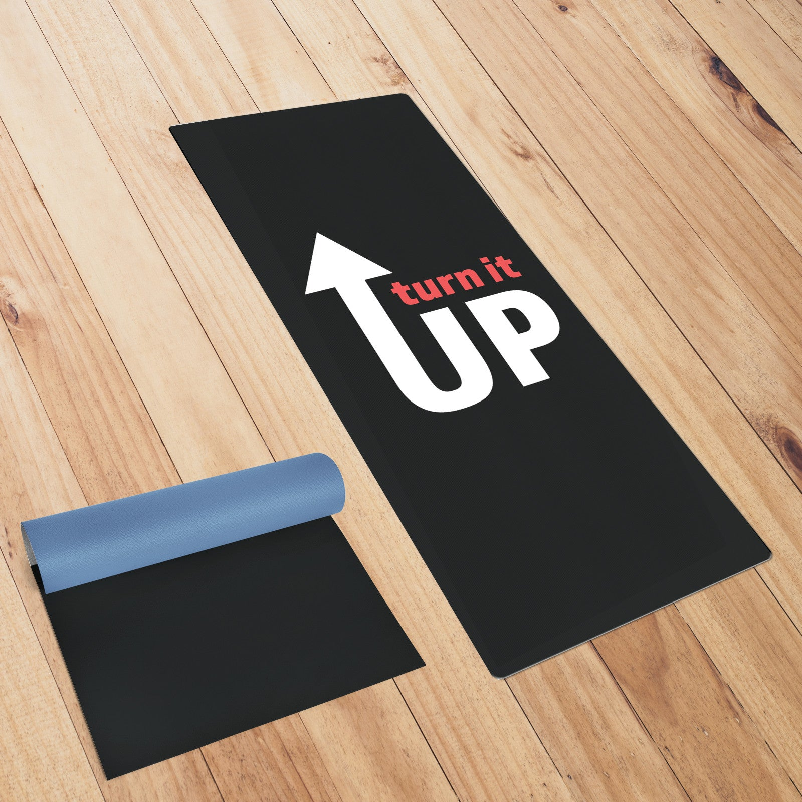 Turn It Up Black Yoga Mat
