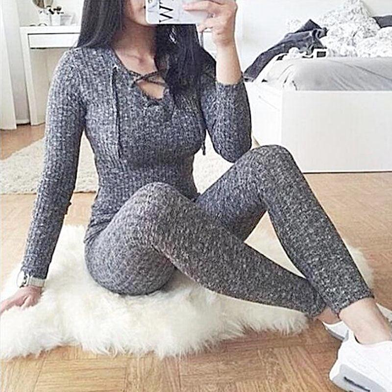 Neck Knitted Romper Jumpsuit