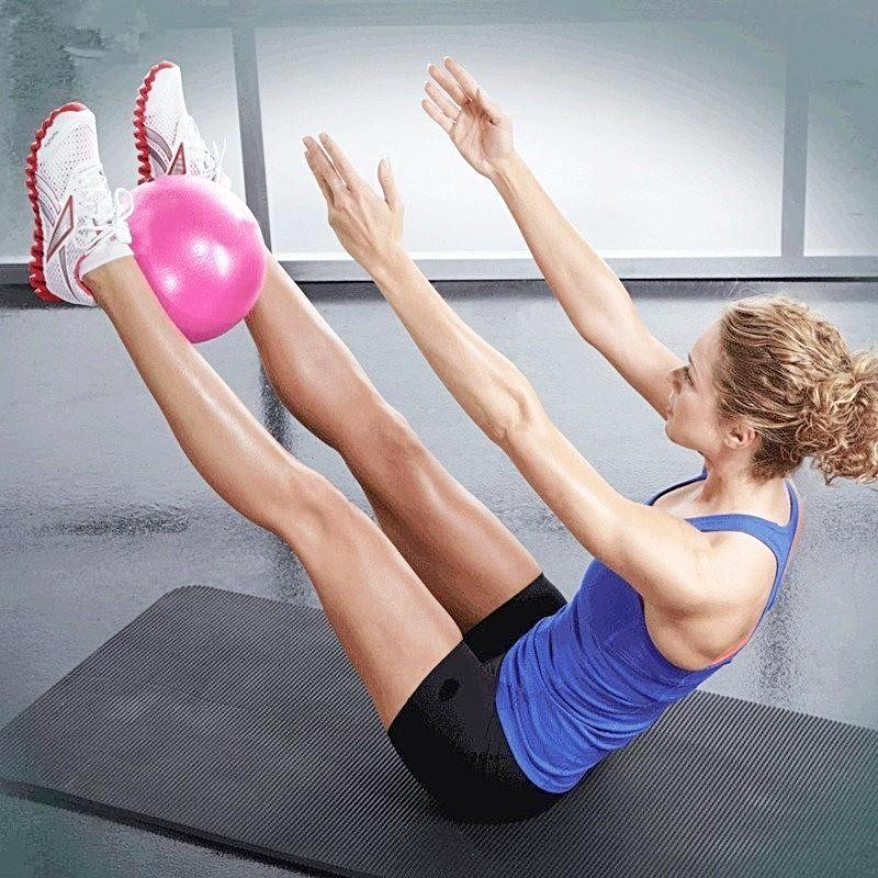 iYoganic Yoga Ball, Lady practising Yoga with a 25cm PVC Ball