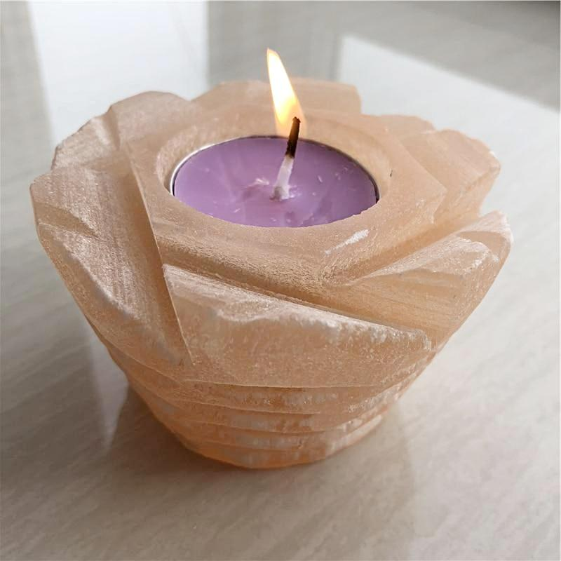 Natural orange selenite candle holder