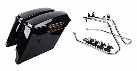 "New Saddlebag 5"" Vivid Black Extended Stretched Harley Touring Conversion Bracket 1994-2013 - thealphpmoto"