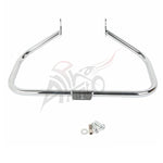 Chrome Square Curved Engine Guard Crash Bar For Harley Softail FL Models 2000-UP - thealphpmoto