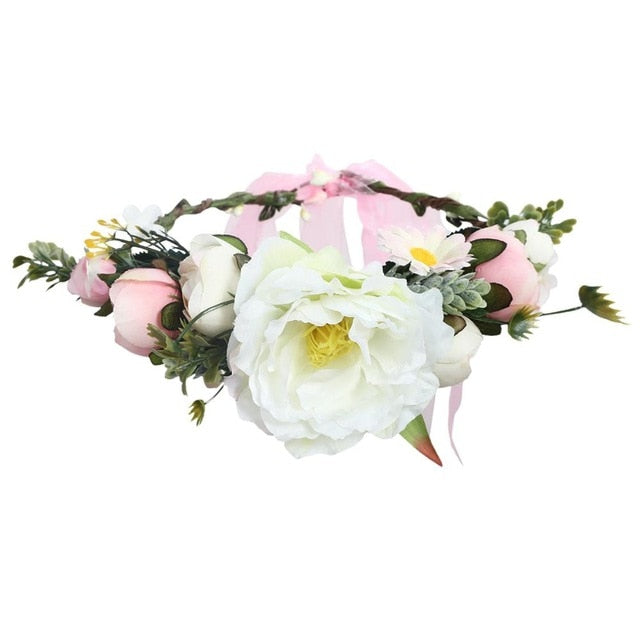 Molans Wild Sweet Flower Crowns Simulation Rose Peony Adjustable Ribbon Floral Garlands Bridal Hair Accessories for Women Wreath