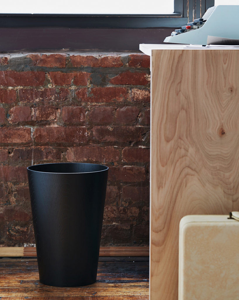 Saito Wood Co. Paper Waste Basket - Black Ash