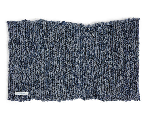 Knitted Linen Floor Mat - Blue