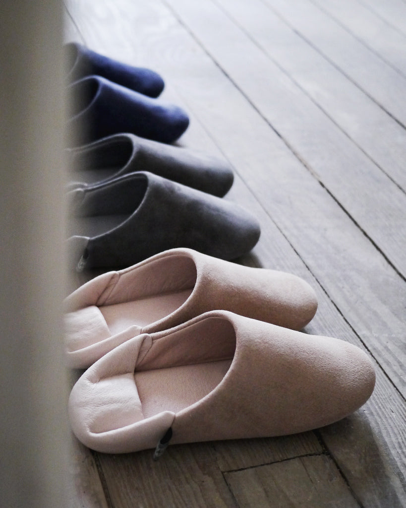 Flying Apartment Leather Slippers - Navy