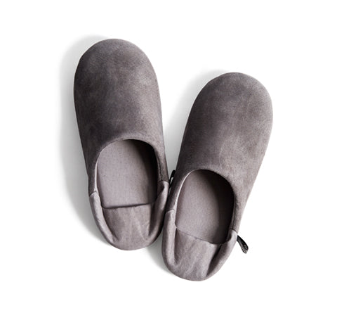 Leather Slippers - Gray