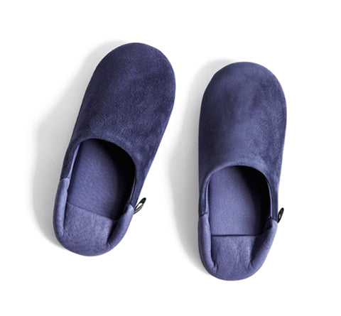 Leather Slippers - Navy
