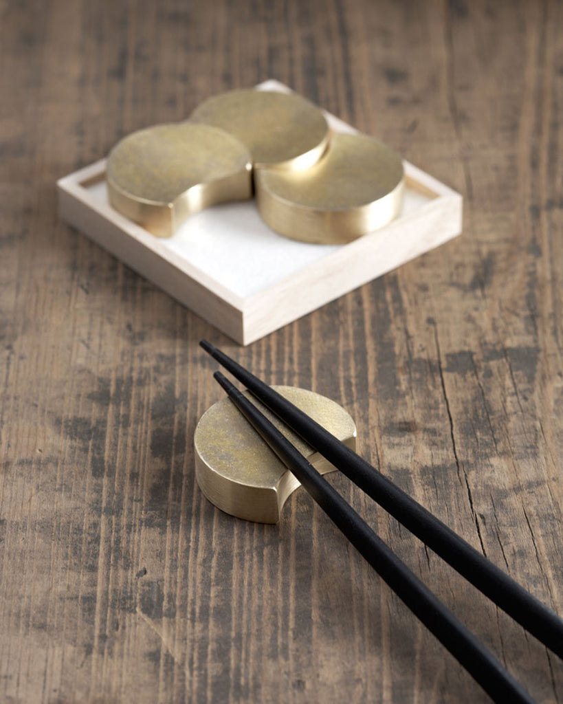 Futagami Brass Chopstick Rests - Four Moon
