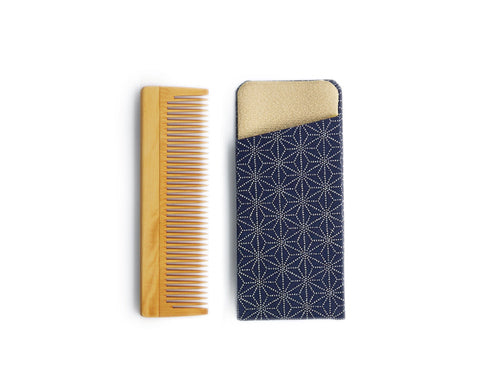 Boxwood Comb with Case - Asanoha II (Fine Leaves)