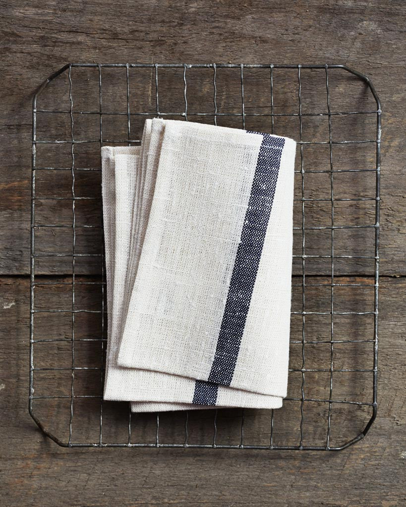 Fog Linen Work Thick Linen Kitchen Cloth - White with Navy Stripes