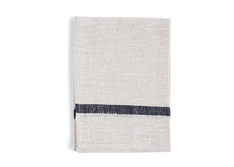 Thick Linen Kitchen Cloth - White with Navy Stripes
