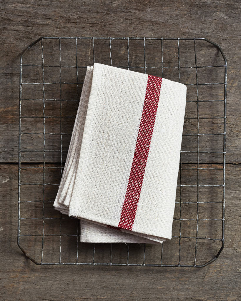 Fog Linen Work Thick Linen Kitchen Cloth - White with Red Stripes