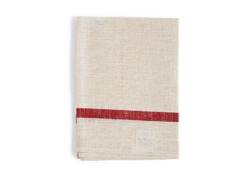 Thick Linen Kitchen Cloth - White with Red Stripes