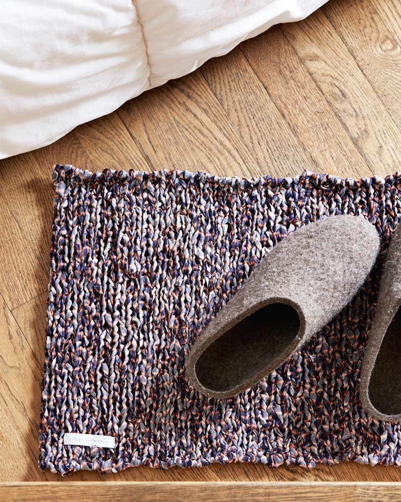 Fog Linen Work Knitted Linen Floor Mat - Mixed Plaid (OUT OF STOCK)
