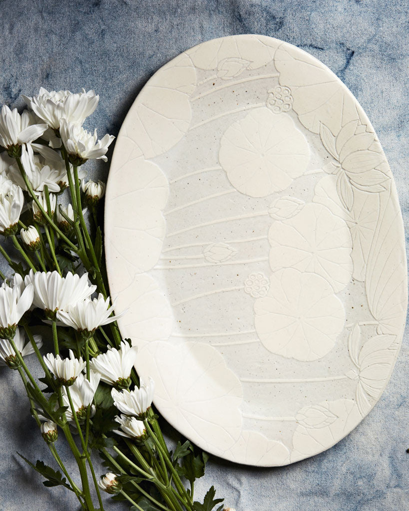 Momoko Otani Sgraffito Oval Serving Plate (OUT OF STOCK)