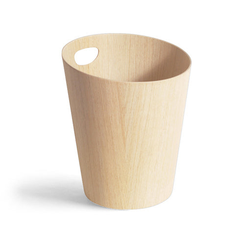 White Oak Paper Waste Basket with Handle
