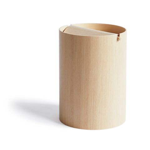 White Oak Paper Waste Basket with Lid - Small