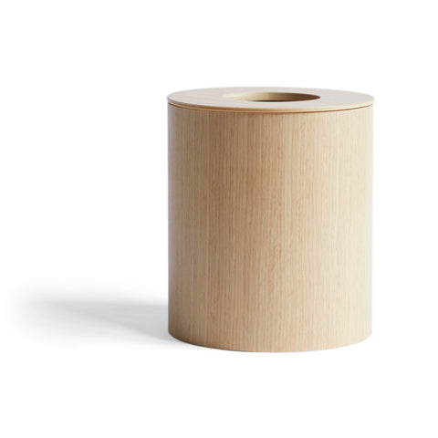 White Oak Paper Waste Basket with Cutout Lid