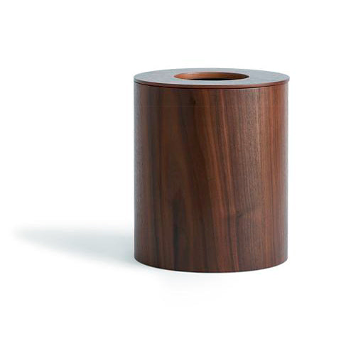 Walnut Paper Waste Basket with Cutout Lid