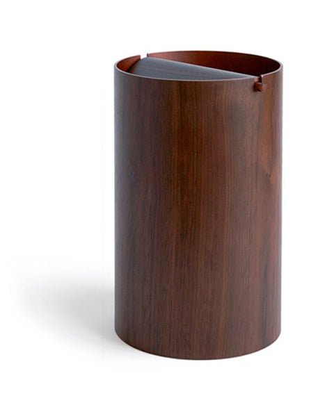 Walnut Paper Waste Basket with Lid - Large