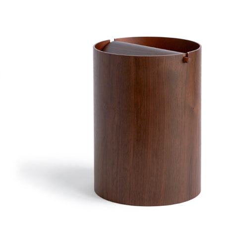 Walnut Paper Waste Basket with Lid - Small