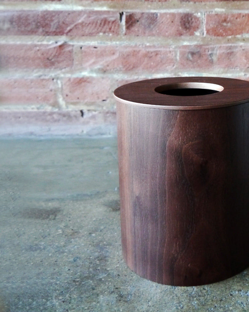 Saito Wood Co. Walnut Paper Waste Basket with Cutout Lid