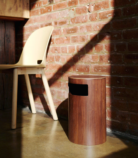 Saito Wood Co. Walnut Paper Waste Basket with Side Entry
