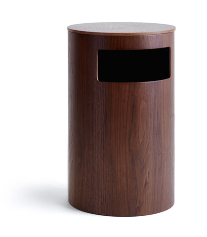 Walnut Paper Waste Basket with Side Entry