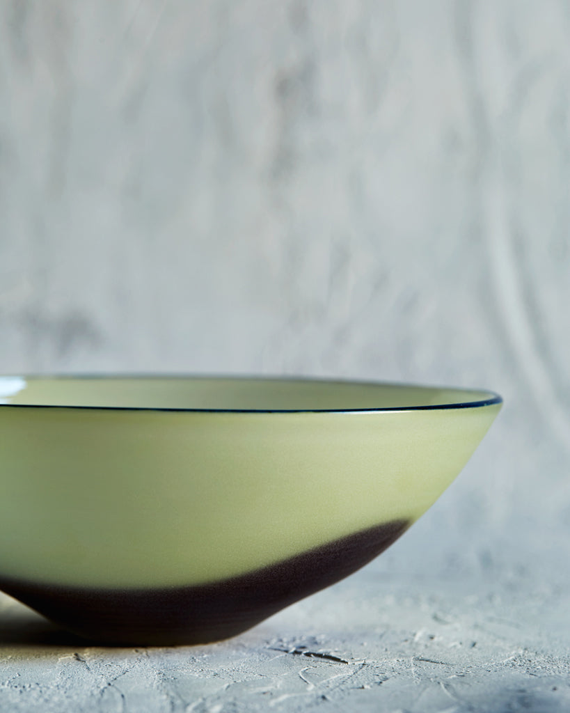 Simplicity Glass Bowl - Light Green and Deep Red