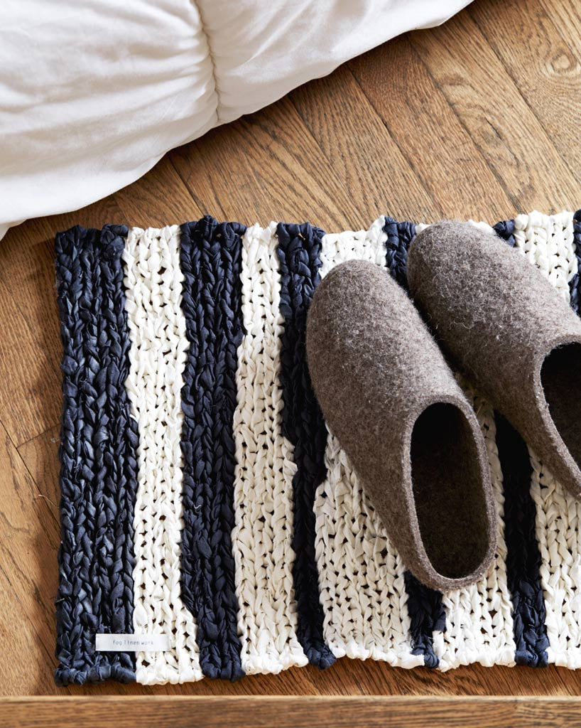 Fog Linen Work Knitted Linen Floor Mat - Striped