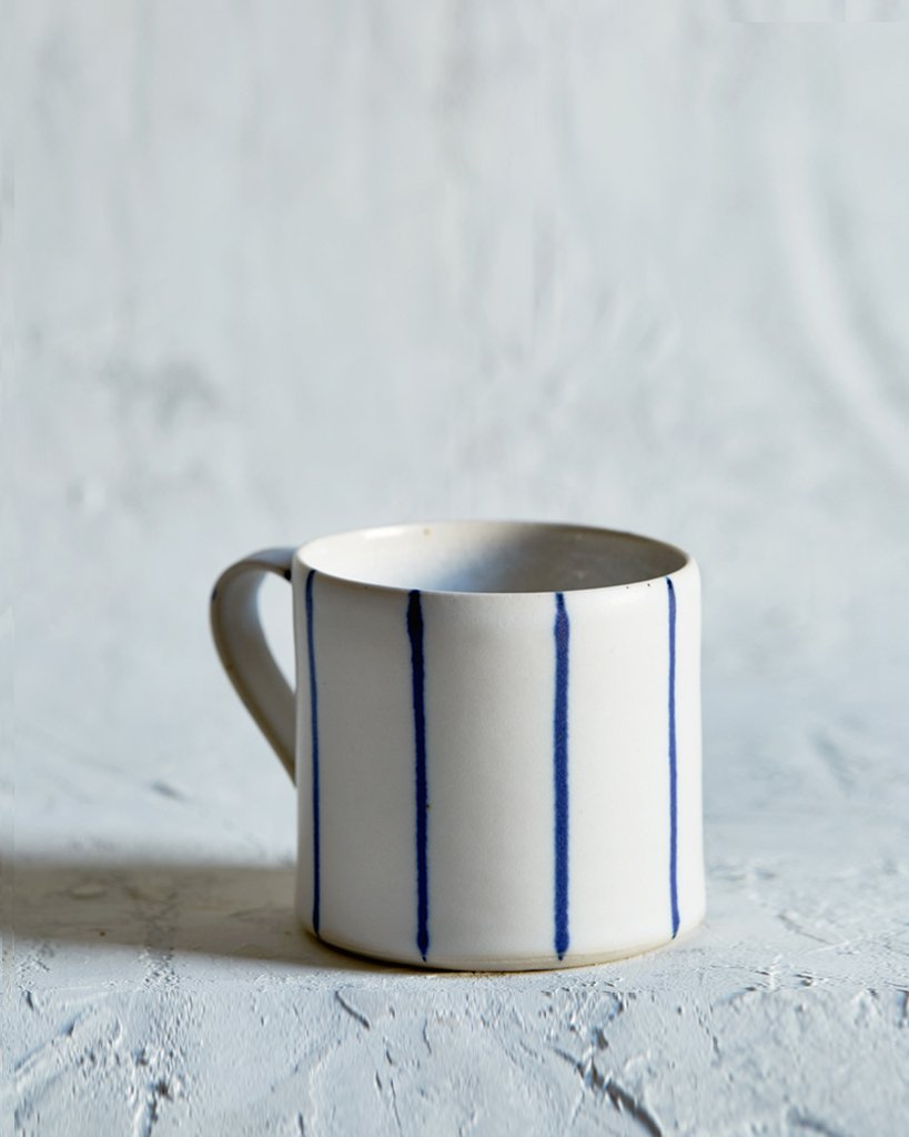 Sue Binns Striped Coffee Cup - White, Thin Blue
