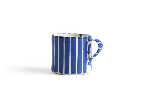 Striped Coffee Cup - Blue, Thin White (OUT OF STOCK)