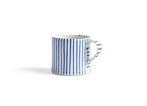 Striped Coffee Cup - Wide White, Thin Blue (OUT OF STOCK)