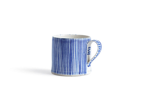 Striped Coffee Cup - Thin White, Thin Blue