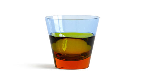Duo Old Fashion Glass - 'Amber and Blue'