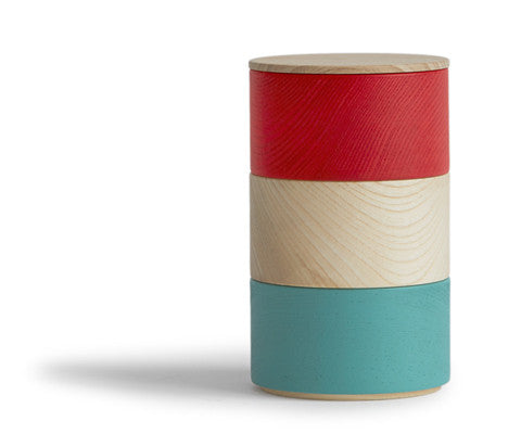 Border Three Tiered Containers - Turquoise, Natural, Red
