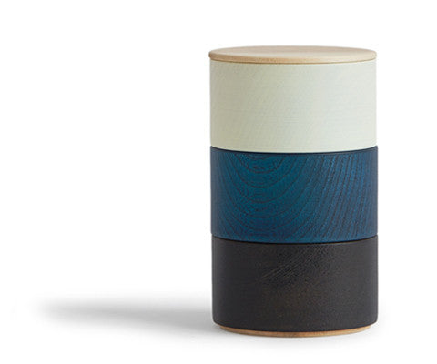 Border Three Tiered Containers - Navy, Ivory, Black