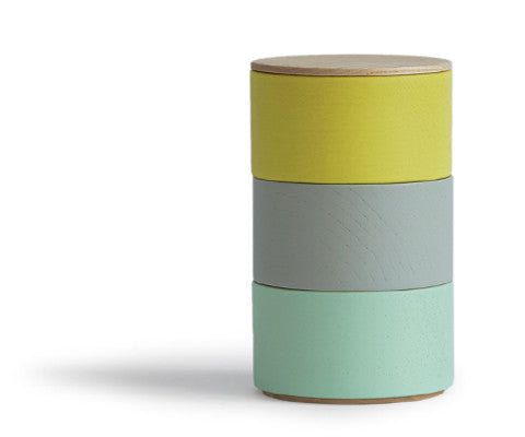 Border Three Tiered Containers - Gray, Mint, Yellow