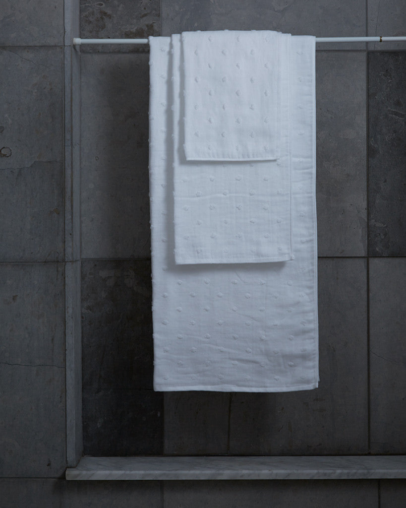 Uchino Zero Twist Gauze Dot Towels - White
