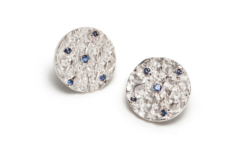Mineral & Sapphire Medallion Earrings