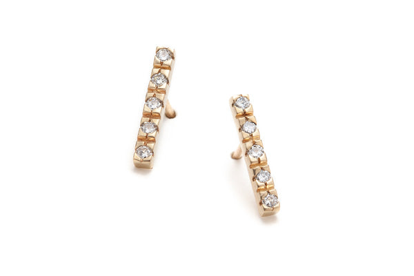 Horizon Diamond Earrings in Yellow Gold