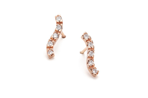Load image into Gallery viewer, Wave Diamond Earrings in Rose Gold