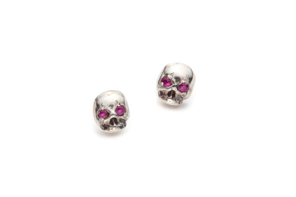 Stone Set Memento Mori Earrings in Silver